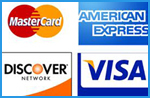 We accept visa, mastercard, american express, and discover card
